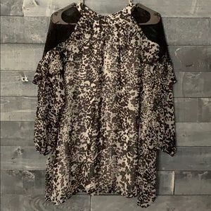 Collective Concepts Animal Print Tunic w/ Lace